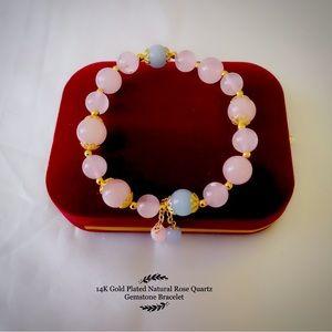 14K Gold Plated Rose Quartz Gemstone Bracelet